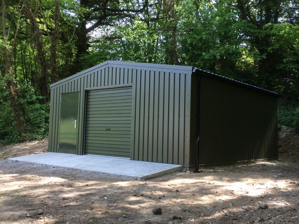 Olive Green Garage set before woodland
