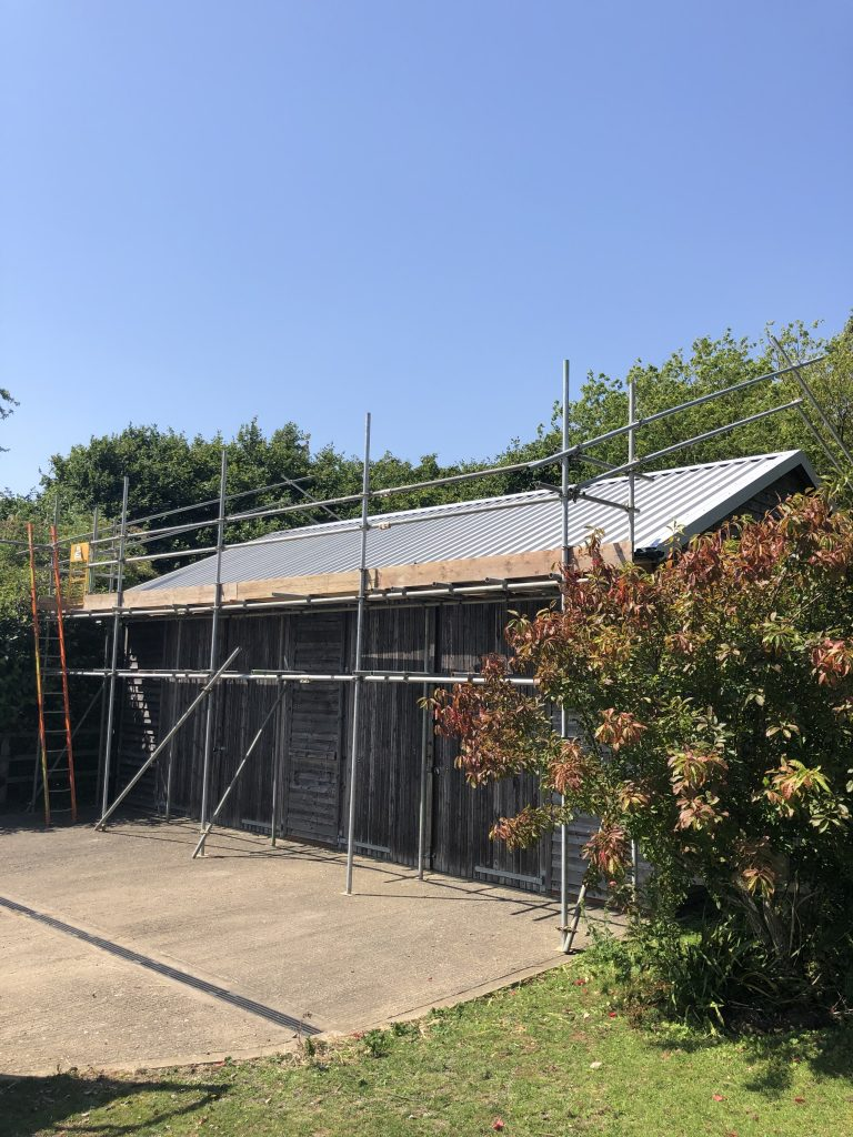 Goosewing grey re roof project on a stable block